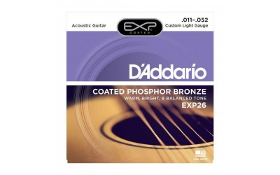 Струни D'Addario EXP26 EXP COATED PHOSPHOR BRONZE CUSTOM LIGHT (11-52)