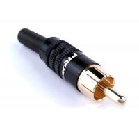 PROEL MRCA25BK - штекер штыревой (RCA папа), с черной полосой, профессиональный