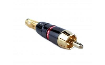 PROEL MRCA48RD - штекер штыревой (RCA папа), с красной полосой, профессиональный