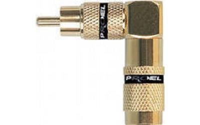 PROEL MRCA60BK - угловой соединитель, штыревой, позолоченный, с черной полосой